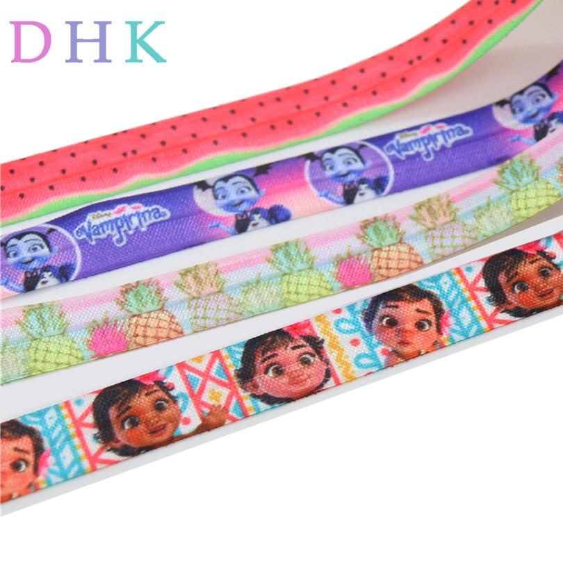 DHK 5/8 ''vampiro piña tren impreso pliegue elástico FOE estiramiento cinta diadema venta al por mayor 5 yardas E1494