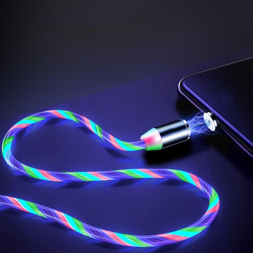 Cable usb tipo c para móvil, iluminación luminosa de corriente magnética 3...