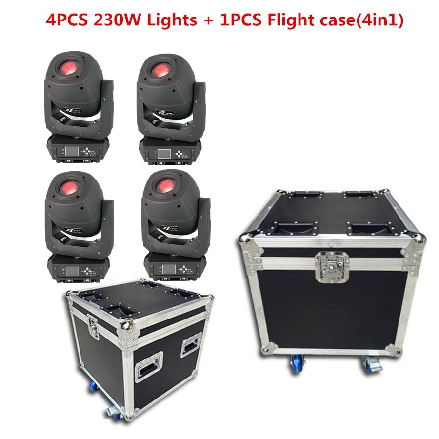 4 قطعة أضواء + 1 قطعة حالة الرحلة LED 230W 3IN1 تتحرك رئيس/بقعة/WASHS المئوية الإضاءة ldisco dj المرحلة أضواء dmx بقعة إد أضواء التكبير
