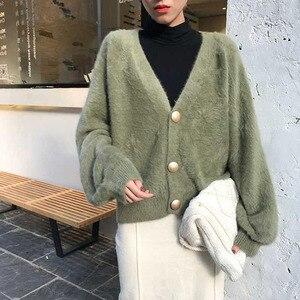 Женский вязаный кардиган оверсайз, элегантный зеленый кардиган с V-образным вырезом и рукавами-фонариками, свитер из искусственной норки на...