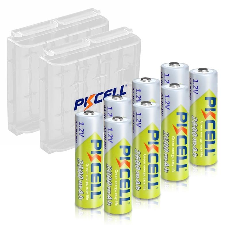 8pcs PKCELL Battery NIMH AA 2600Mah 1.2V 2A Ni-Mh aa Rechargeable Batteries AA Bateria Baterias + 2pcs Battery Hold Case Boxes palo 2 24 pcs rechargeable aa 2a battery 1 2v 3000mah aa 2a nimh original high capacity current batteries battery aa batteries
