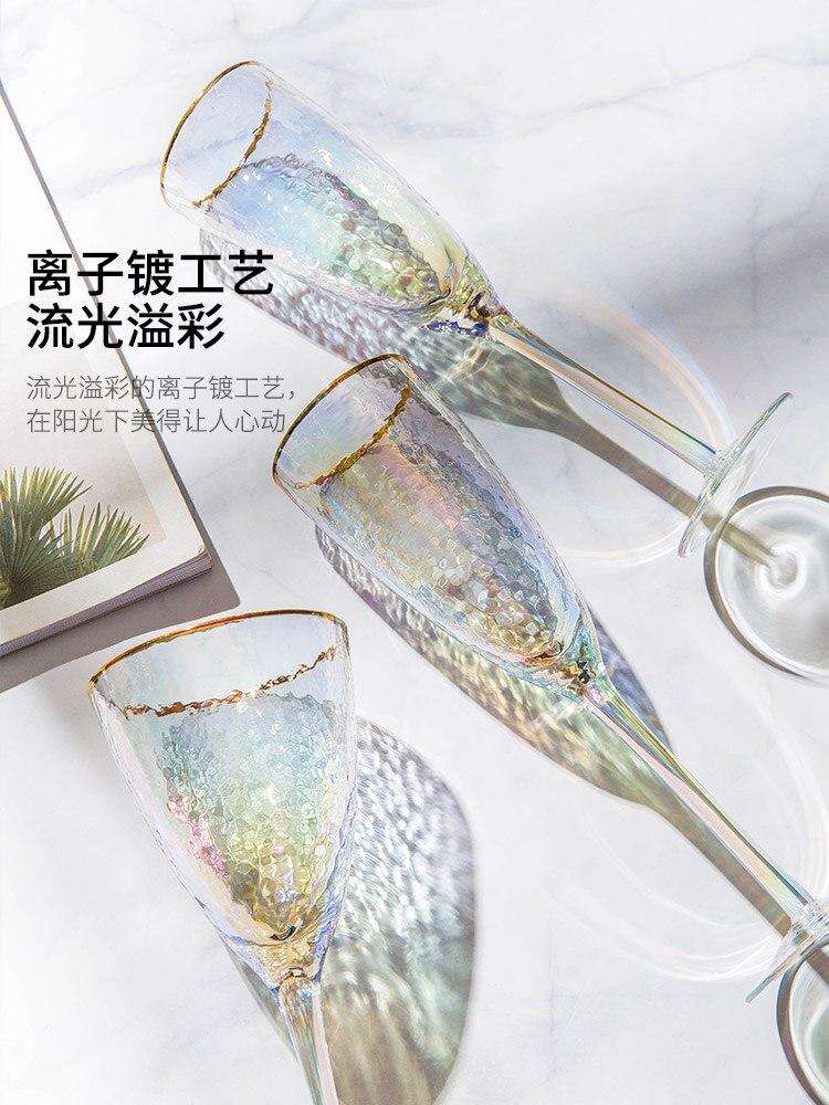 Vasos de Cristal redondos y creativos de colores, copa de champán transparente...