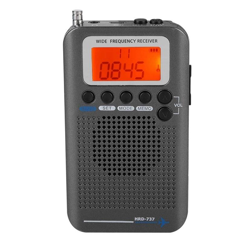 Receptor de Radio de avión portátil, receptor de Radio de banda completa-AIR/FM/AM/CB/SW/VHF, pantalla LCD con retroiluminación, Chip tiene un potente M