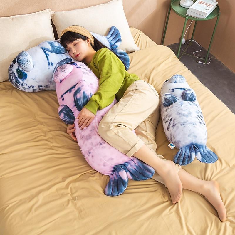 Hot Huggable Soft Sea Lion Dolphin Plush Toys Simulation Sea World Animal Sleeping Pillow Stuffed Doll Kids Birthday Gifts  - buy with discount