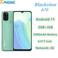 Blackview A70, 3 Гб оперативной памяти, 32 Гб встроенной памяти, Android 11 6,517 дюймов 5380 мА/ч, Батарея сети 4G Face ID и идентификация по отпечатку пальца мобильный телефон