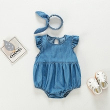 Baby Siamese 21 summer dress Korean new born girl Khaki jeans triangle creeping suit backless dress
