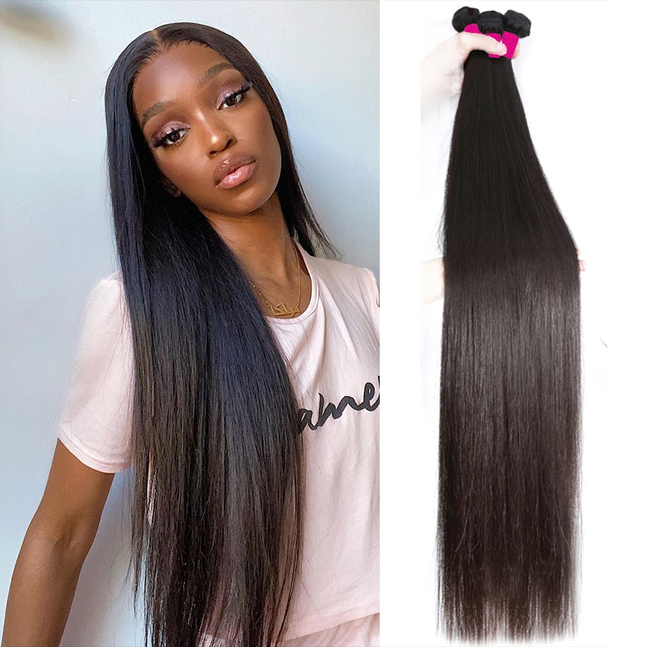 Straight Bundles Bone Straight Hair 30 Inch Long Brazilian Natural Human Hair 1 3 4 Bundles For Blac