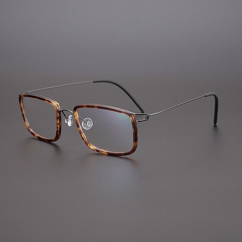 نظارات طبية خفيفة للغاية من أسيتات التيتانيوم للرجال والنساء ، نظارات بصرية مربعة عتيقة ، تصميم العلامة التجارية والدنماركية