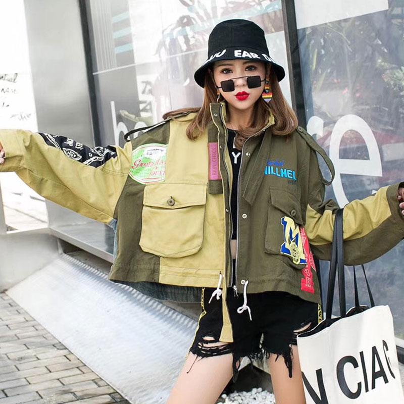 2020 الربيع الشارع نمط معاطف وسترات المرأة الخضراء فضفاضة BF سترات قصيرة مع جيوب كبيرة سترة واقية