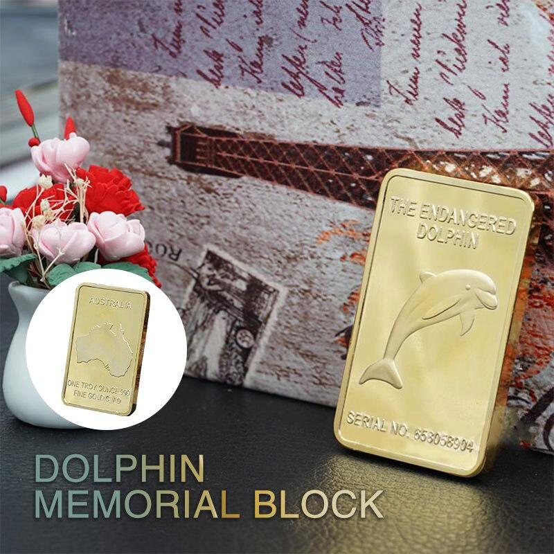 Barra de lingote delfín regalo moneda conmemorativa recuerdo moneda 24K chapado en oro aleación de Zinc cuadrado hogar Decoración coleccionable película