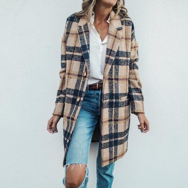 Новинка 2020, модные брендовые женские куртки, Свободное длинное шерстяное Свободное пальто в клетку