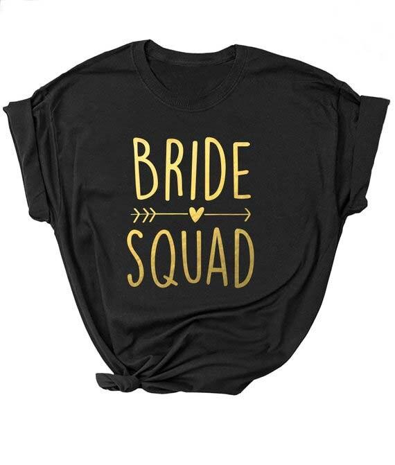 Camiseta Unisex para despedida de soltera o despedida de soltera de color negro, camiseta con eslogan femenino para novios, camisetas para parejas