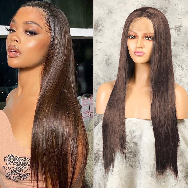 بني داكن طويل باروكة شعر مستقيمة للنساء مستقيم الجزء الأوسط شعر مستعار اصطناعي مقاوم للحرارة شعر مستعار كامل للاستخدام اليومي
