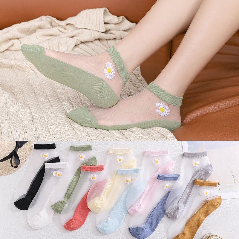 2021, маленькие носки с маргаритками, стеклянные чулки, красивые модные маленькие носки, маленькие носки принцессы, прозрачные носки в стиле Х...