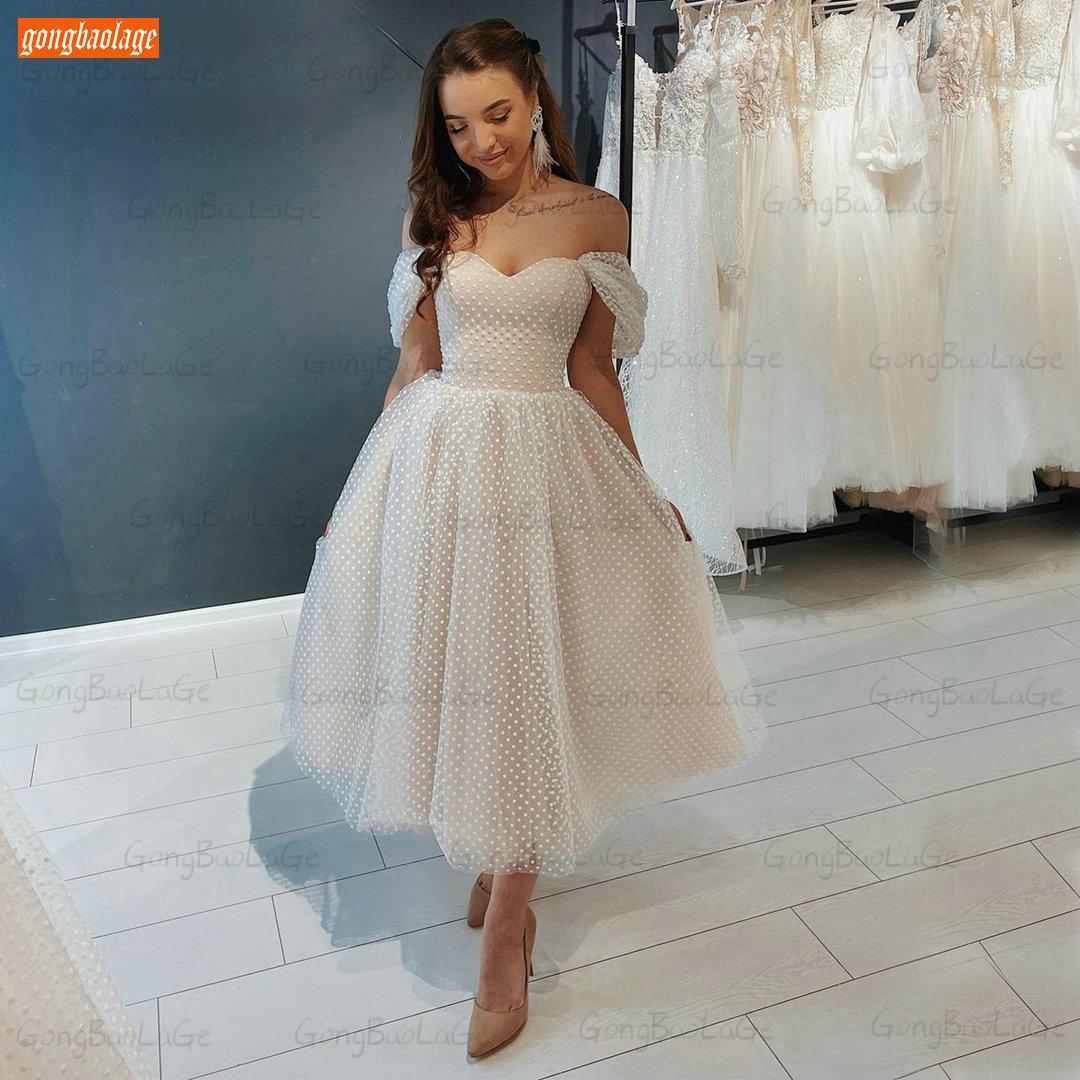 Get Simple Short Wedding Dresses White 2021 Vestido De Noiva Off Shoulder Tulle Tea Length Bridal Gown Custom Made Свадебное Платье