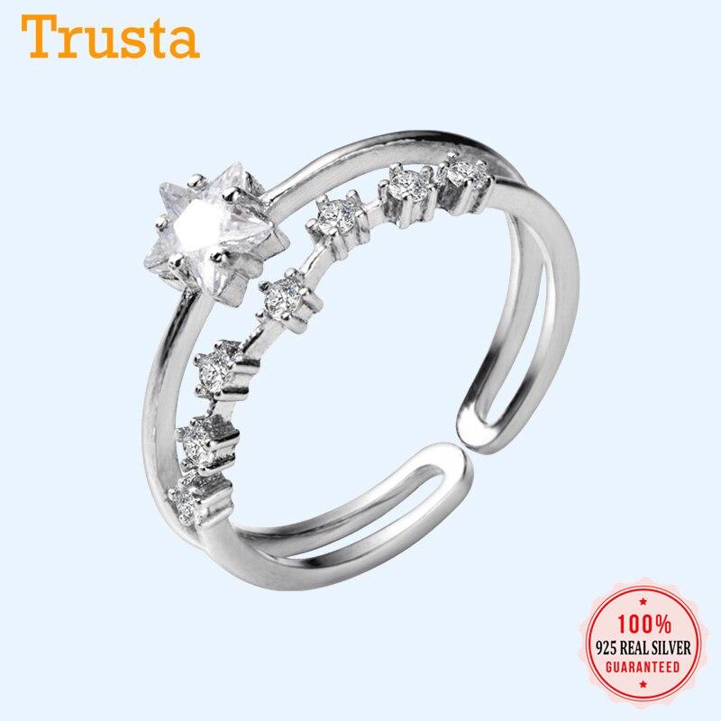 Joyería Trustdavis anillo 100% de plata esterlina 925, anillo fino de estrellas del cielo para mujer, talla 5, 6, 7, chicas adolescentes, regalo de cumpleaños de deseo DS1365