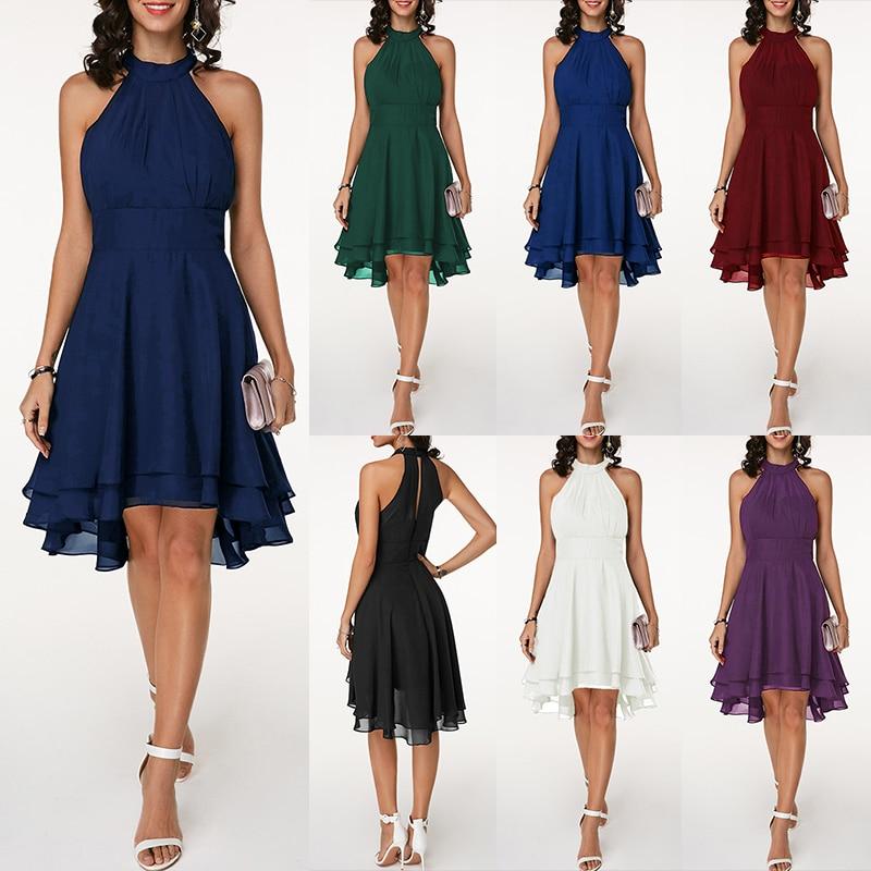 ZOGAA Sexy Halter Sleeveless Party Dresses Women Solid Pleated Chiffon Dress Asymmetric 2019 Summer dress Vestidos vintage