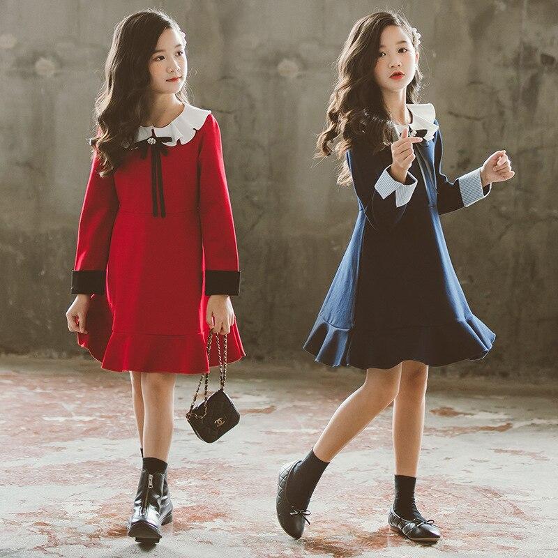 Herbst Winter Mädchen Prinzessin Kleid Baby Mädchen Party Kleid Niedlichen Rüschen Langarm Weihnachten Kostüm Große Kinder Vestidos Rot Blau