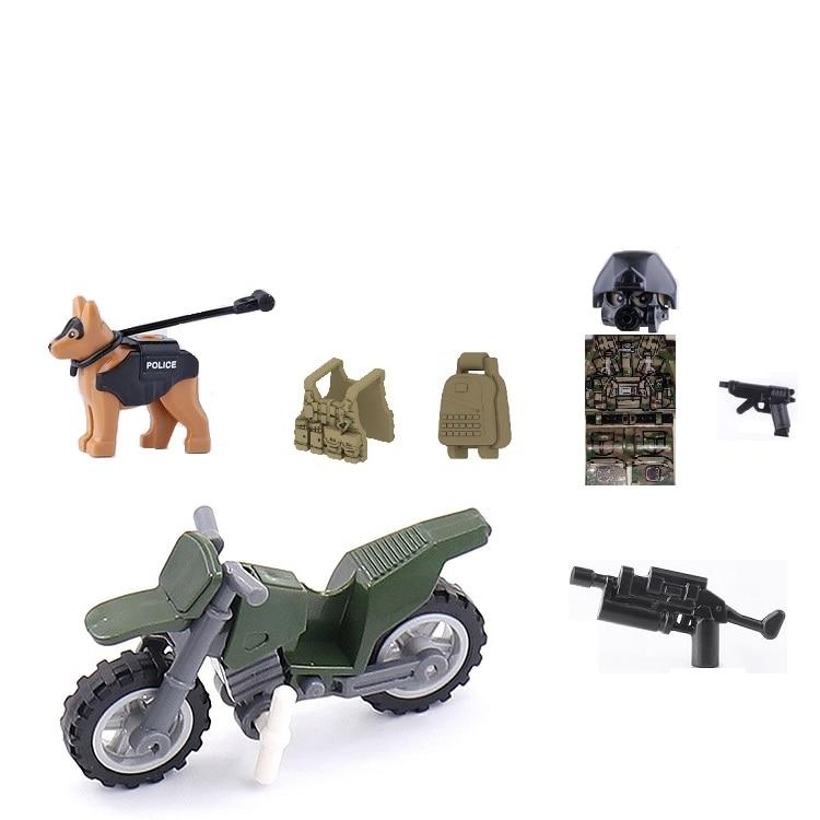 Camuflaje soldado motocicleta chaleco táctico perro militar Swat policía arma bloques de construcción de armas ciudad de bloques de construcción figuras niños juguete