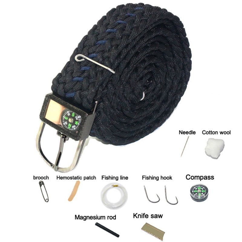 Безопасный инструмент для выживания Парашютная веревка ремень многофункциональный военный, боевой; нейлоновый плетеный ремень для прогул...