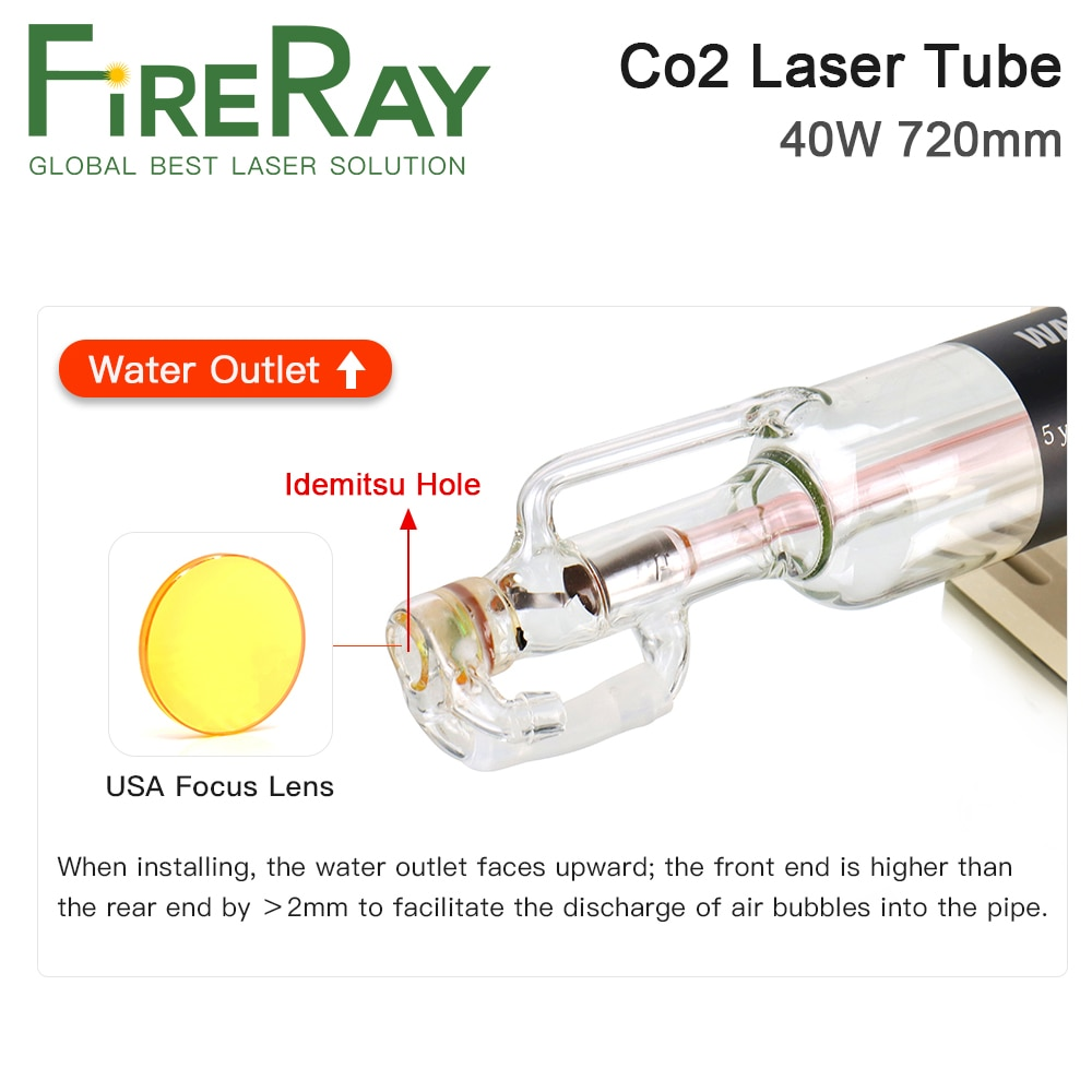 FireRay Co2 Glass Laser Tube Dia 50mm 40W 720mm 50W 820mm Glass Laser Lamp for CO2 Laser Engraving Cutting Machine enlarge