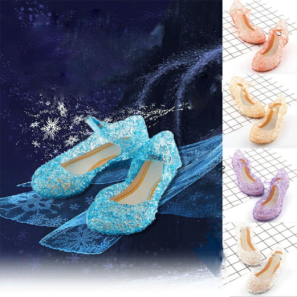 Girls Kids Summer Crystal Sandals Frozen Princess Jelly High-heeled Shoes Girl Frozen Princess Queen Dress Up Party Facny Sandal