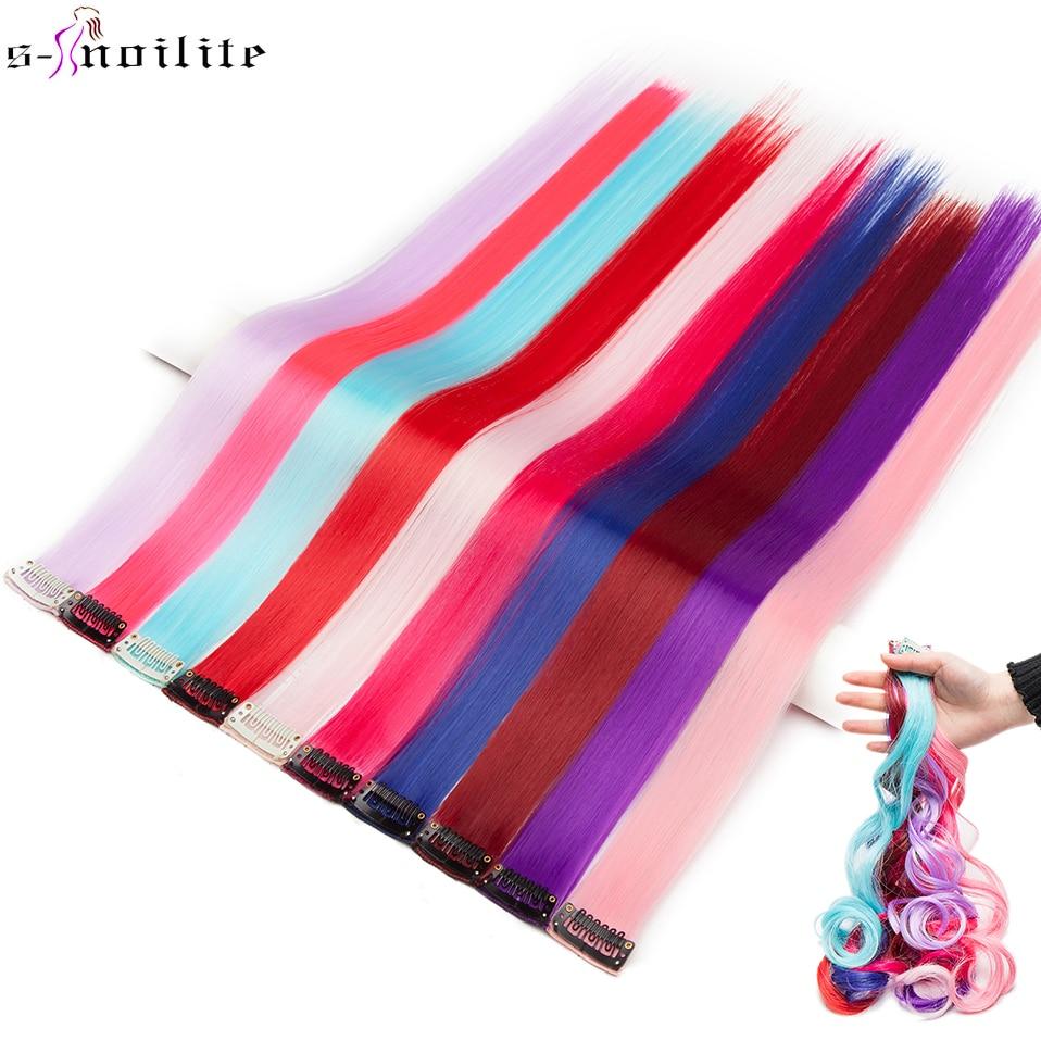 Extension synthétique lisse à clips en une pièce-s-noilite   Postiche longue de 20 pouces, rose bleu violet rouge couleur Pure, faux cheveux