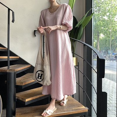 black v neck long sleeves casual sweaters with side pockets Women's round neck puff sleeves with pockets solid color bubble cotton casual loose long skirt
