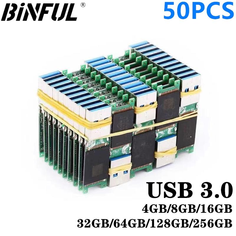 50PCS Wholesale USB 3.0 High speed memory flash 4GB 8GB 16GB 32GB 64GB 128GB 256G U disk semi-finished chip pendrive DIY nesting