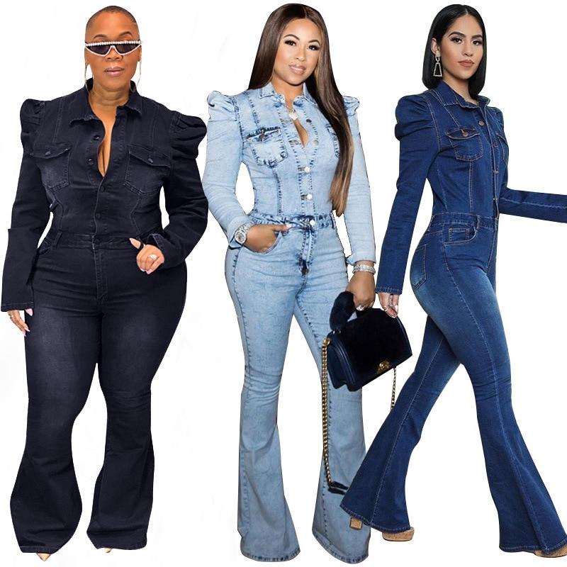 Джинсовый комбинезон, женские облегающие джинсы с эффектом потертости, Молодежные джинсовые пальто с пышными рукавами, Цельный Наряд, женс...