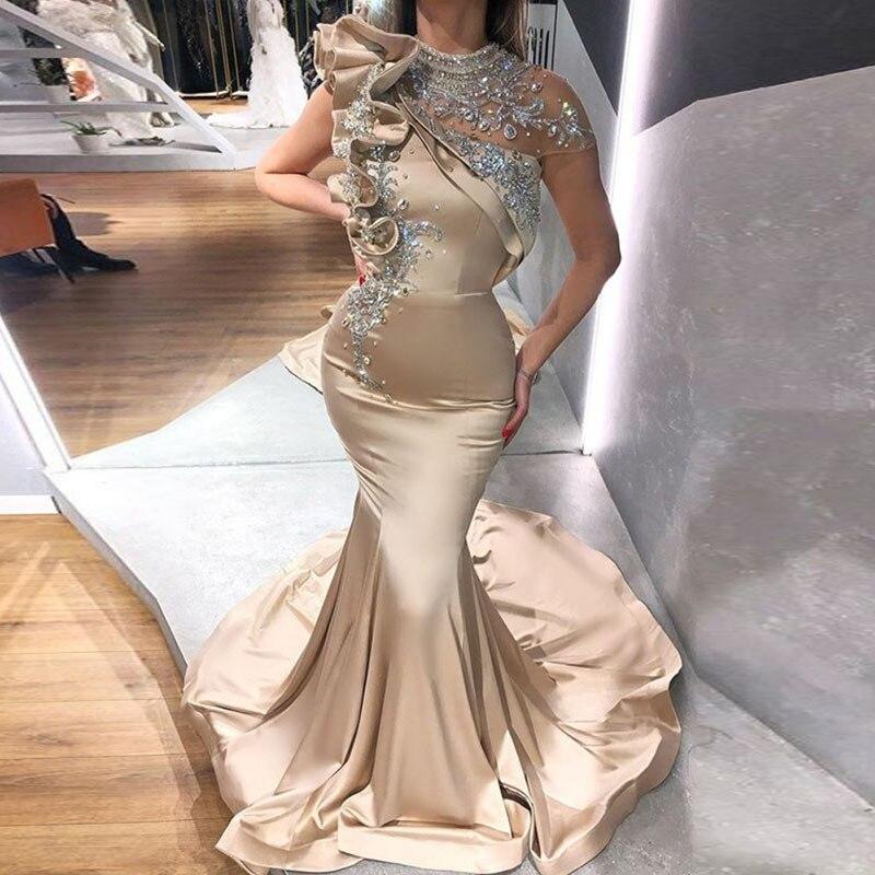 Vestidos de Noche árabes de cuello alto con champán rebordeado con diamantes de imitación, vestidos de sirena de graduación, vestidos de manga casquillo para fiesta de Dubai 2020