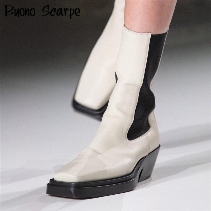حذاء تشيلسي من الجلد الطبيعي ، مرن ، غير رسمي ، سميك ، حذاء كاحل بمقدمة مربعة ، مصمم علامة تجارية ، للنساء ، الخريف