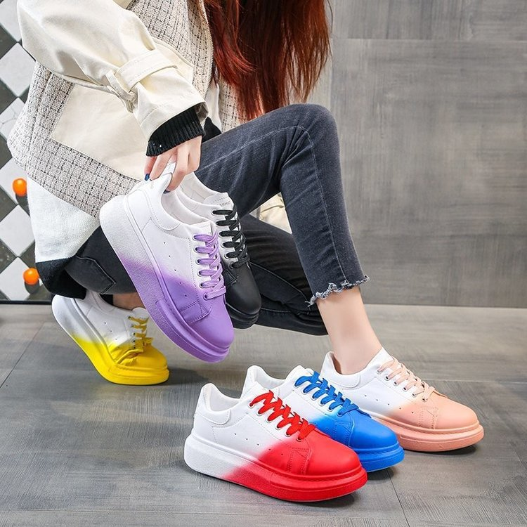 Little white shoes fashion trend sports shoes students all-match rainbow shoes women casual color matching board comfortable