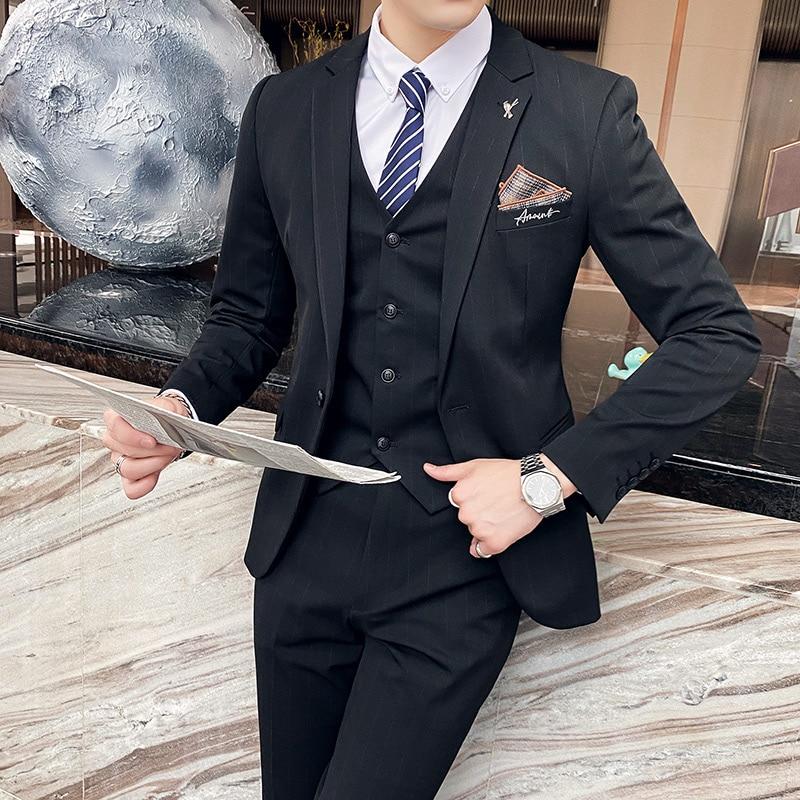 (Куртка + жилет + брюки) 2021 брендовая одежда мужские весенние хлопковые облегающие деловые блейзеры/мужские полосатые модные Костюмные паль...