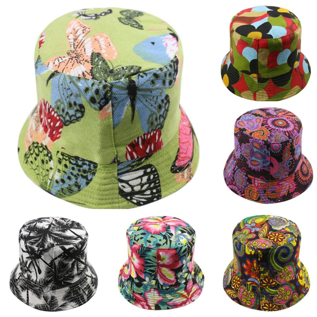Women Butterfly Plant Print Bucket Hat Foldable Anti-sunburn Bucket Sun Hat Cap Hunting Cap Men Basin Chapeau Sun Prevent Hats
