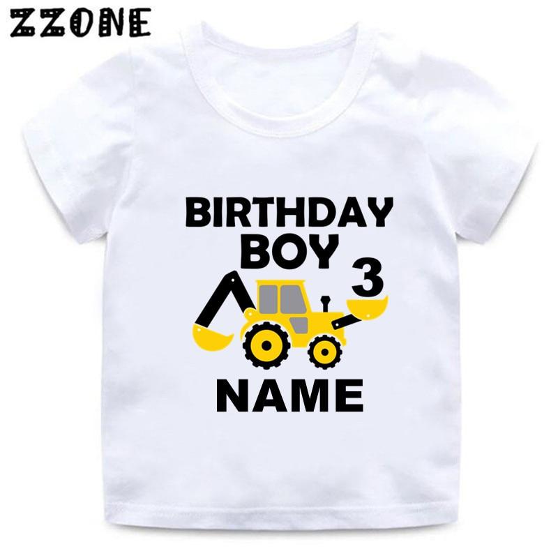 Детская футболка на заказ с именем на день рождения, футболка с мультяшным экскаватором и номером 1-9, футболка для мальчиков с принтом, Детск...