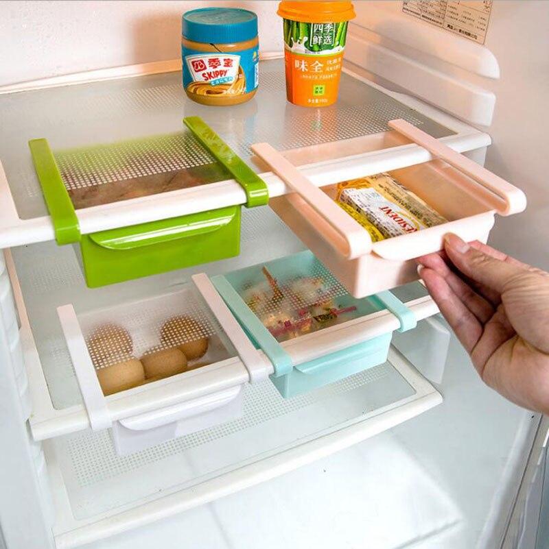 Bastidores de cocina para aperitivos de frutas, estante de almacenamiento deslizante ABS, estante de almacenamiento ajustable para nevera, estante de almacenamiento para cajones para ahorrar espacio