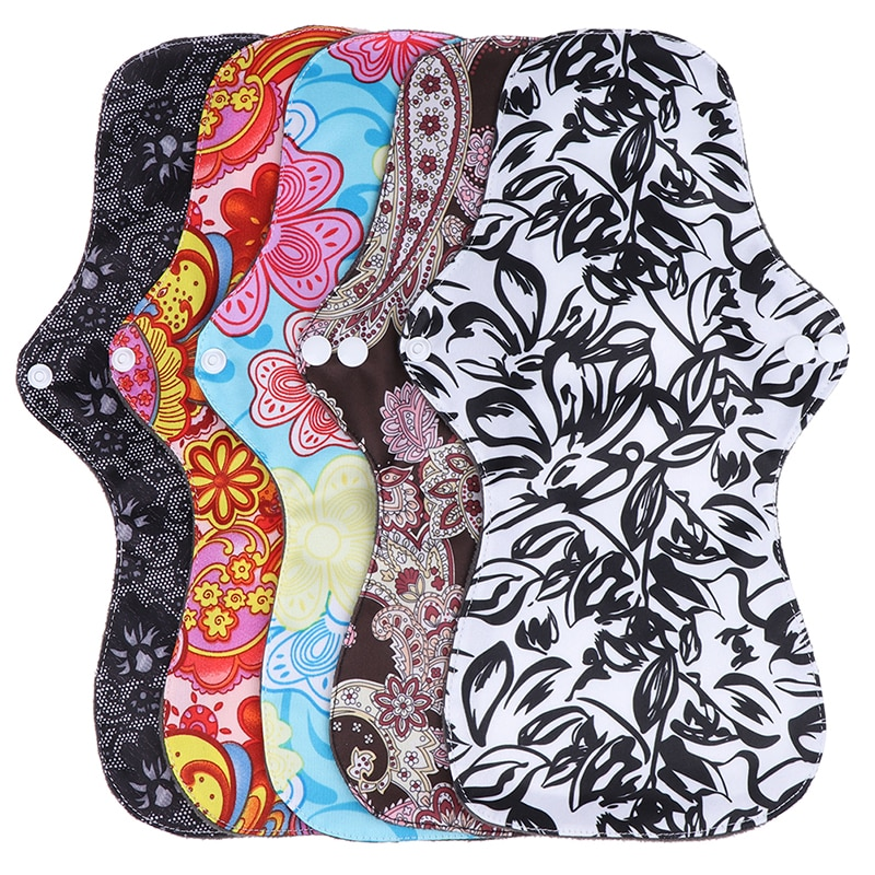 5Style Large Size Reusable organic Bamboo Cloth Washable Menstrual Pad Mama Sanitary Towel Pads