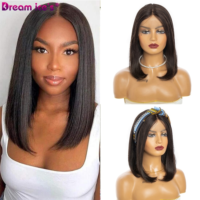 Long Straight Bob Lace Front Wigs for Women 95% Human Hair Wig 14 Inch Brazilian Natural Full Machine Wigs Daily Use Dream Ice
