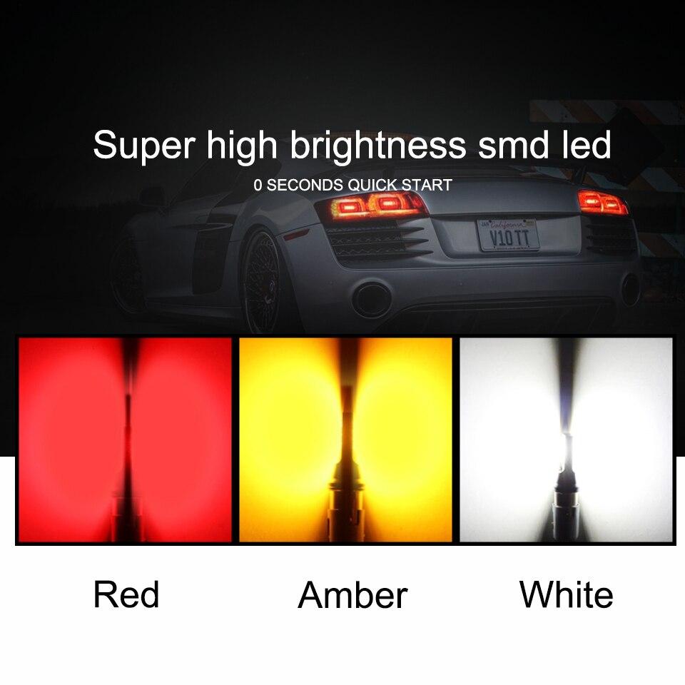 Купить с кэшбэком ANMINGPU 2x Signal Lamp 7443 Led W21/5W T20 7440 W21W WY21W 3030SMD 3157 Led Bulb T25 P27W P27/7W Reversing Lights Brake Light