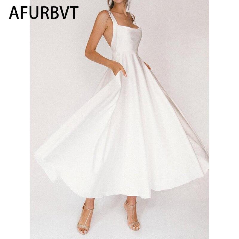فستان نسائي 2021 الصيف السيدات مثير الرافعة الحمالات فستان بلون جيب سليم هيم شق مفتوح الظهر شاطئ فستان الرسن