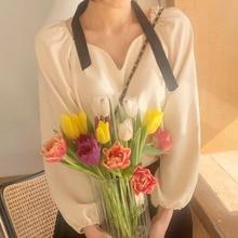 Korean Chic Slimming Heart Collar Design Sense Niche Loose Puff Sleeve Shirt All-Match Solid Color C