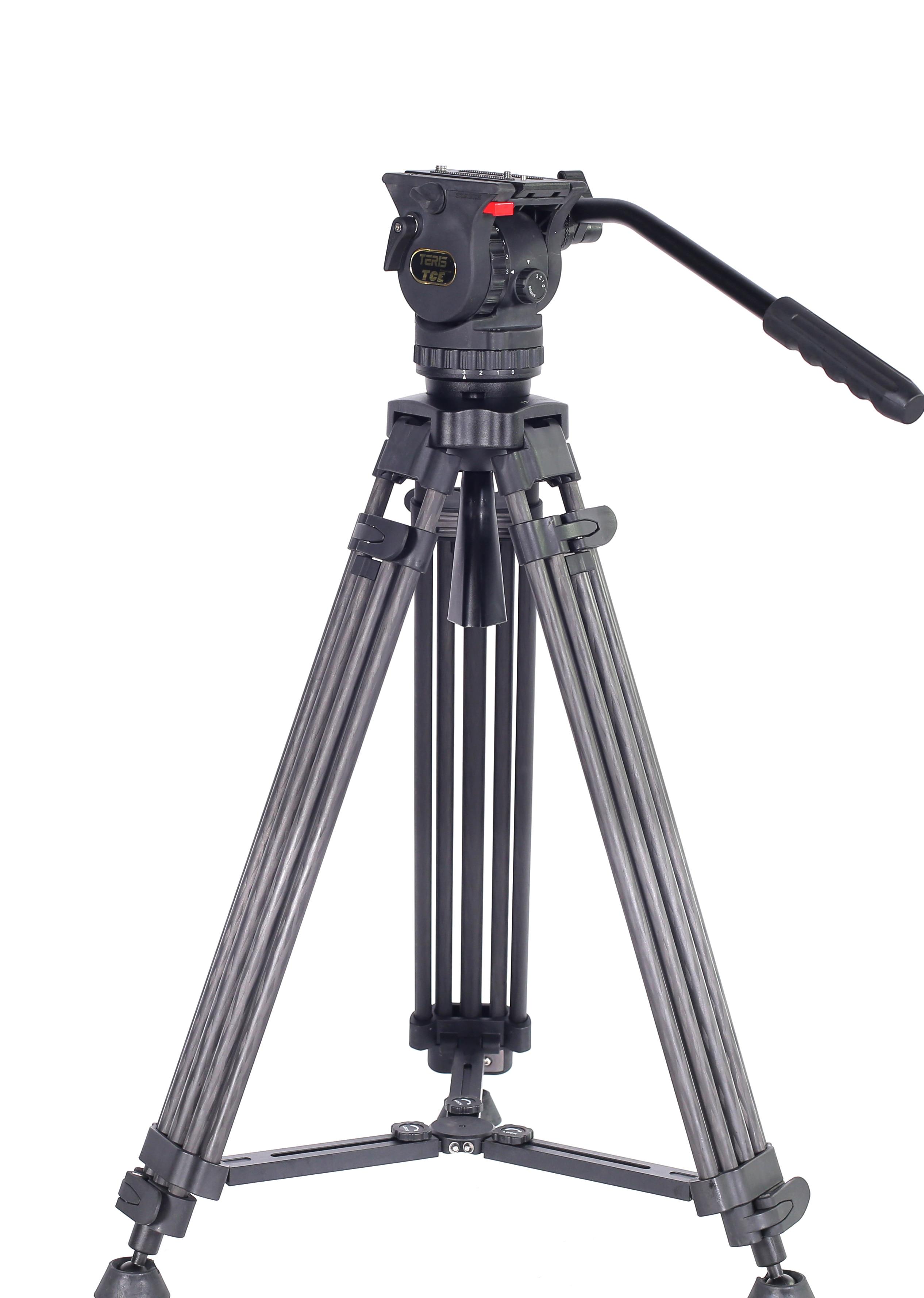 TERIS TCE-CF حامل ثلاثي القوائم من الفايبر للكاميرا مع حمولة رأس السوائل 7 كجم الحمولة