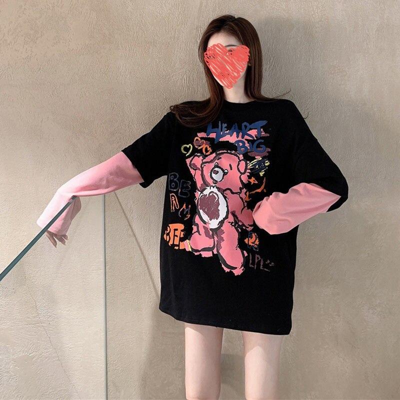 2021 جديد وهمية قطعتين القطن قاعدة أعلى المرأة سميكة فضفاضة و تنوعا طويلة الأكمام T المرأة متوسطة طول أعلى