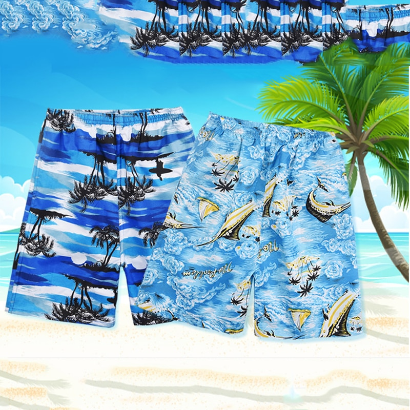 Beach Bants Mens Large Size Quick-Drying Loose Thin Five-Point Shorts Sports Leisure Flower Pants Explosion Models