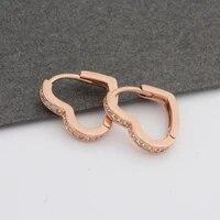 2021 trend earrings new 585 rose gold micro wax inlay natural zircon drop earrings for women heart shape cute earrings wedding
