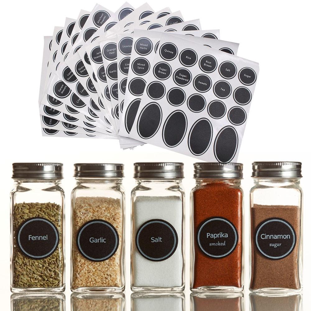 320 + pizarra reutilizable para despensa tarros de Mason pegatinas impresas etiquetas de vino botella para condimento botella de bolígrafo con adhesivo frascos de especias