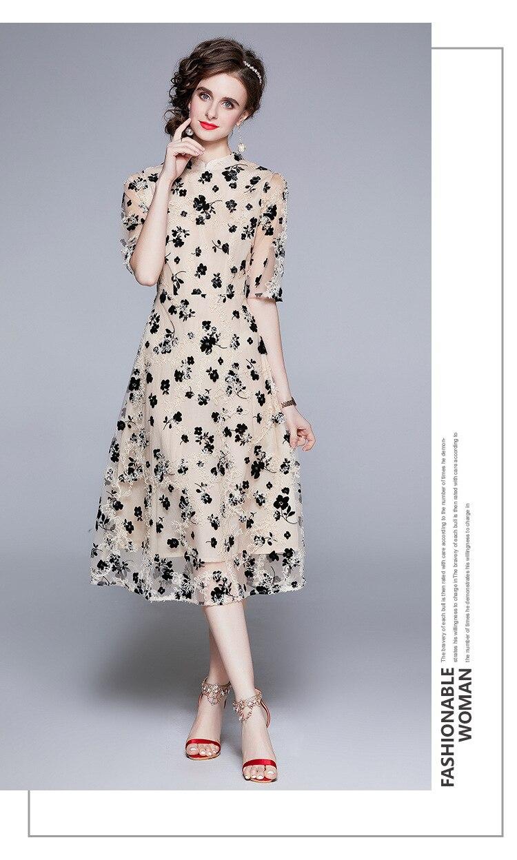 Women New Fashion High Street Dress Wear Retro Round Neck Short Sleeve Embroidered Lace Mesh Elegant Vestidos De Mujer