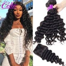 Celie Hair Brazilian Loose Deep Wave Bundles With Closure Remy Hair Weave 3 Bundles With Closure Human Hair Bundles With Closure