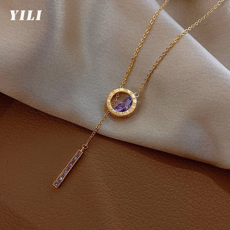 Fashion Korean Roman Digital Stainless Steel Necklace Luxury Purple Crystal Pendant Necklace for Wom